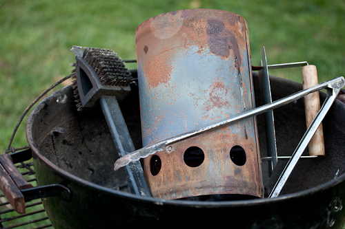 My over-loved Weber, chimney, grill brush & charcoal tongs