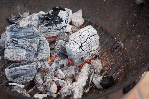 Coals are ready when they're covered by a nice layer of ash