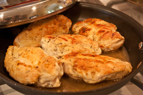 The little bit of flour will make a slightly thickened pan juice, and give the chicken a glossy coating