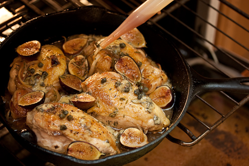 Try not to firehose the chicken with the baster so the rosemary and capers stay on top