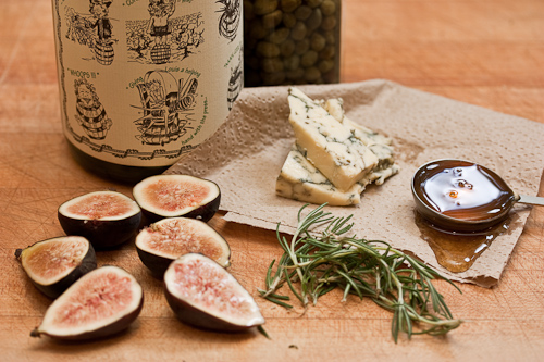 Figs, honey and Stilton...rosemary joins in as do wine and capers