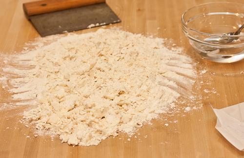 Scrape the flour back into a pile